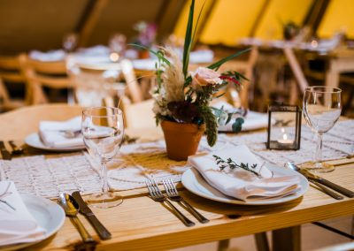 Table set for tipi wedding reception in Scarborough