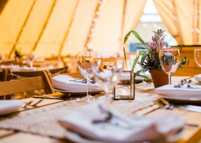 Table set for a tipi wedding (Yorkshire)