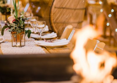 Table setting for tipi wedding, scarborough