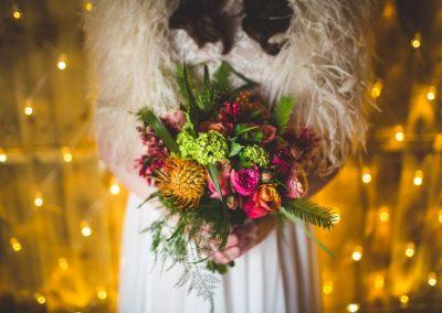 Floral bouquet for tipi wedding, Scarborough